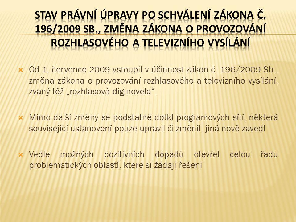 Stav právní úpravy po schválení zákona č. 196/2009 Sb