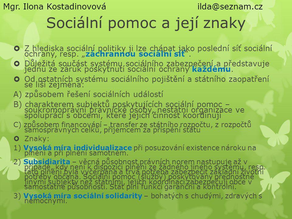 Sociální pomoc a její znaky