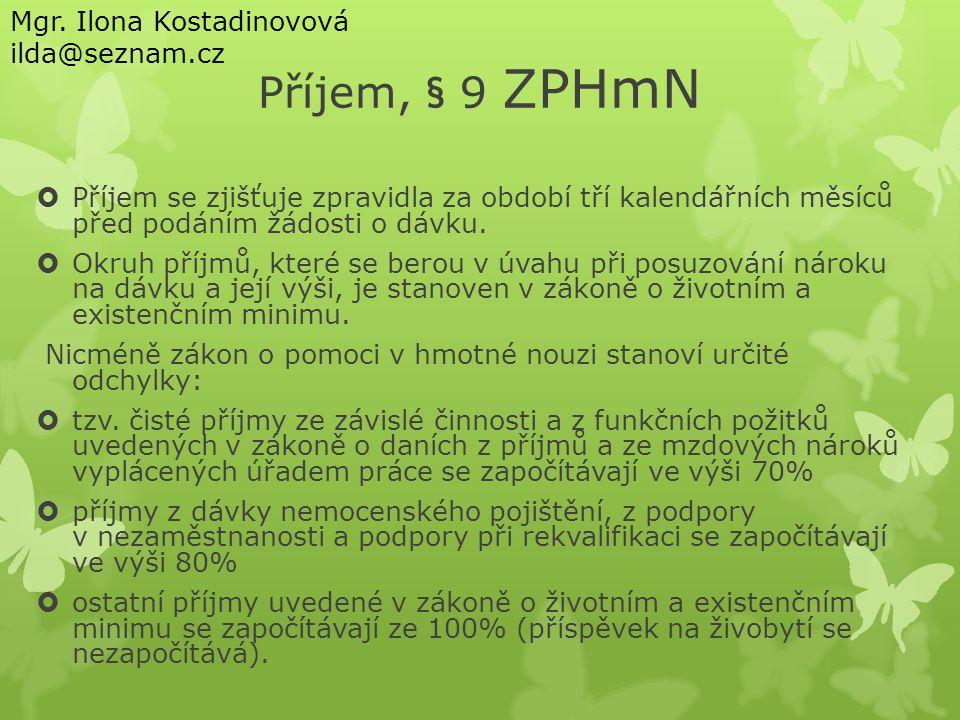 Příjem, § 9 ZPHmN Mgr. Ilona Kostadinovová ilda@seznam.cz