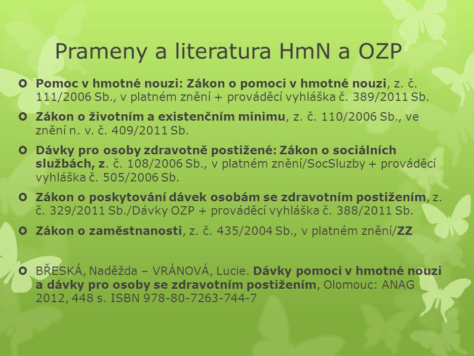 Prameny a literatura HmN a OZP