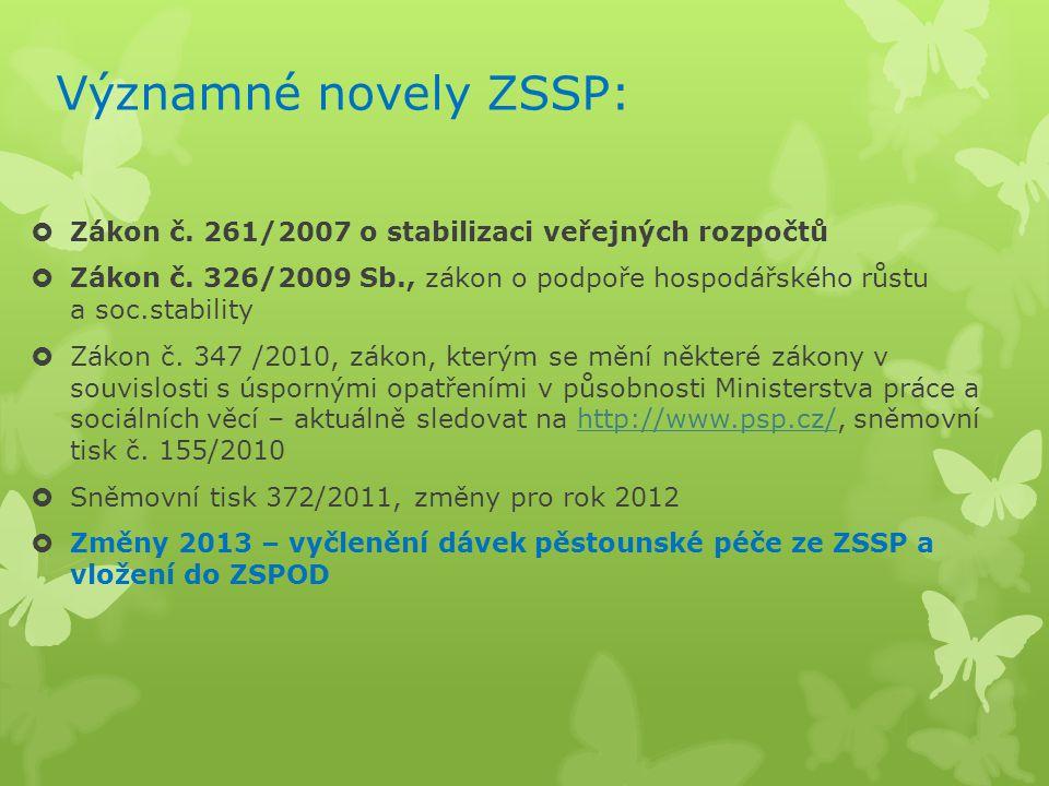 Významné novely ZSSP: Zákon č. 261/2007 o stabilizaci veřejných rozpočtů.