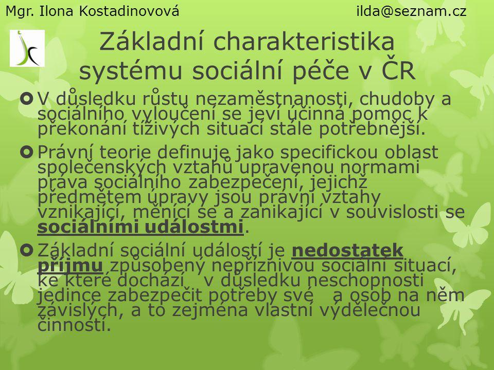 Základní charakteristika systému sociální péče v ČR
