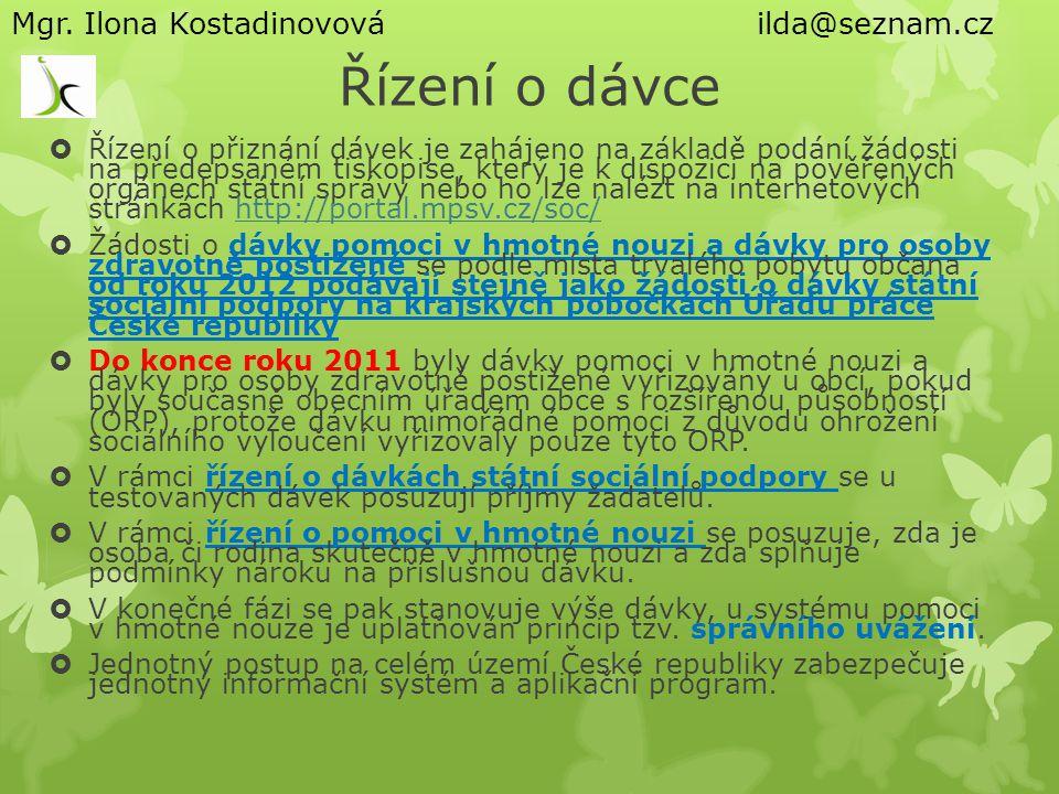 Řízení o dávce Mgr. Ilona Kostadinovová ilda@seznam.cz