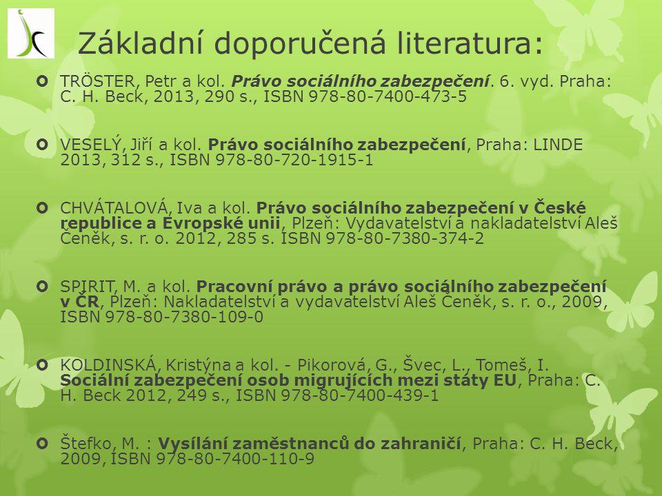 Základní doporučená literatura:
