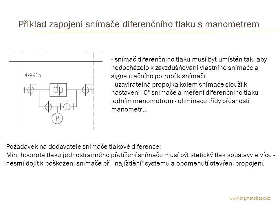 Příklad zapojení snímače diferenčního tlaku s manometrem