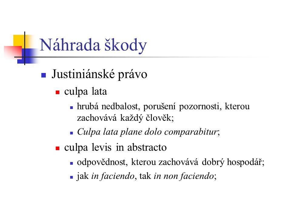 Náhrada škody Justiniánské právo culpa lata culpa levis in abstracto