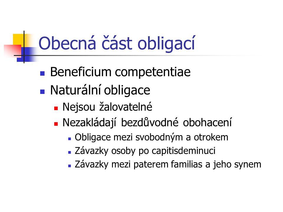 Obecná část obligací Beneficium competentiae Naturální obligace