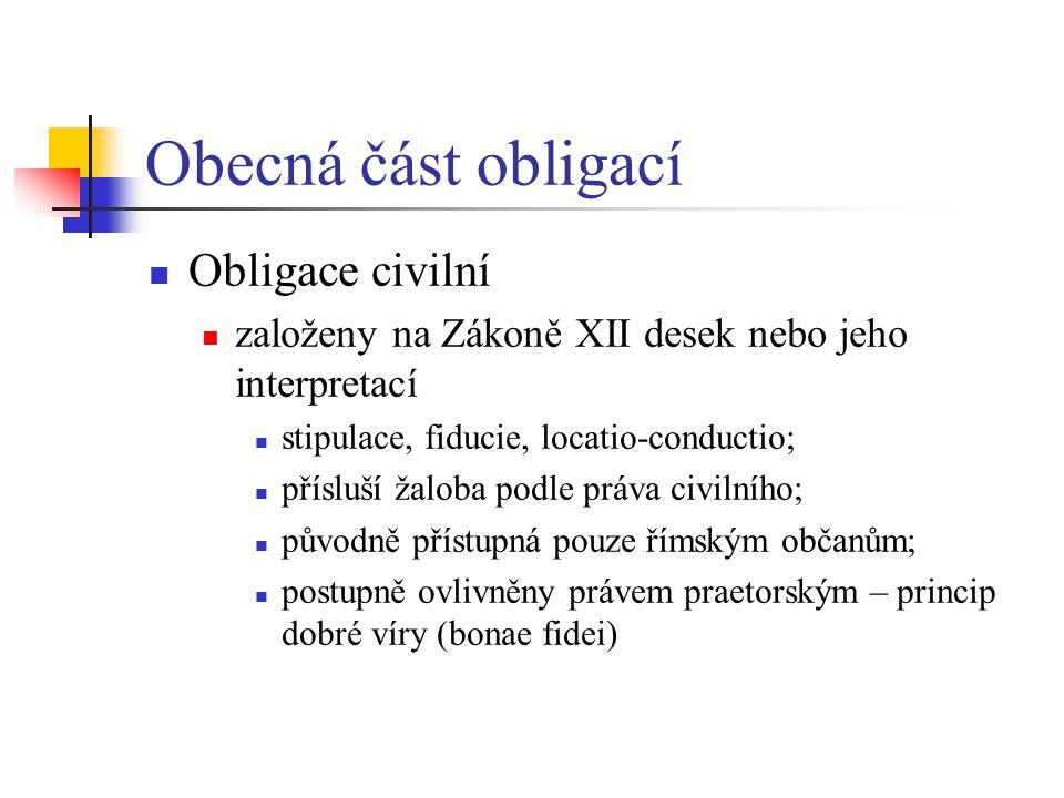 Obecná část obligací Obligace civilní
