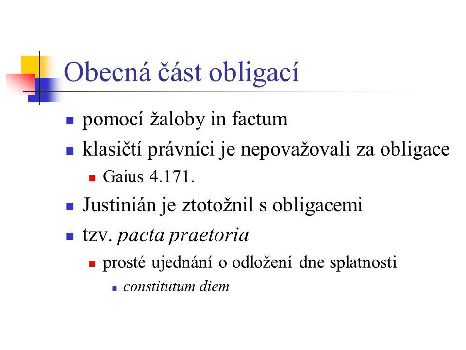 Obecná část obligací pomocí žaloby in factum