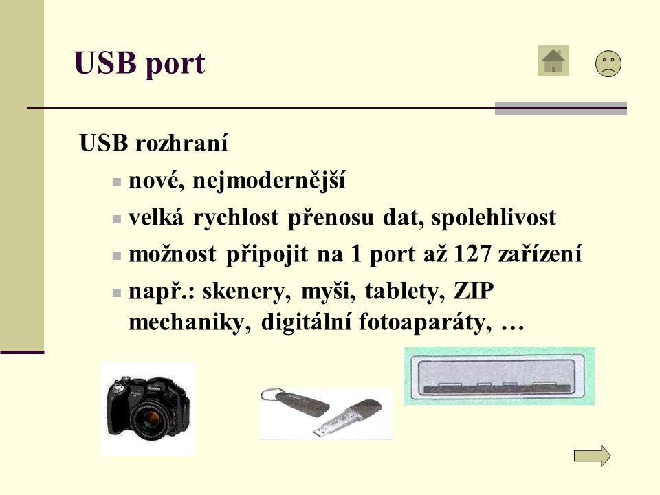 USB port USB rozhraní nové, nejmodernější