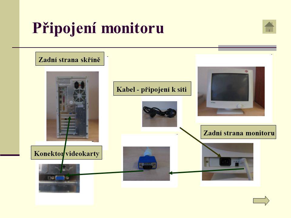 Připojení monitoru Zadní strana skříně Kabel - připojení k síti
