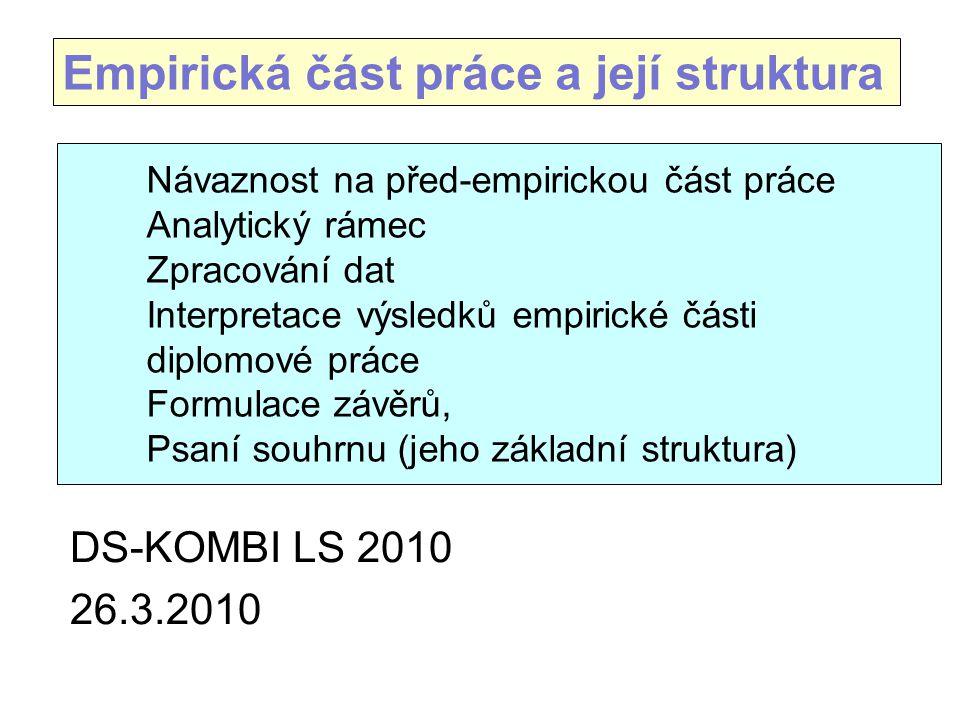 Empirická část práce a její struktura