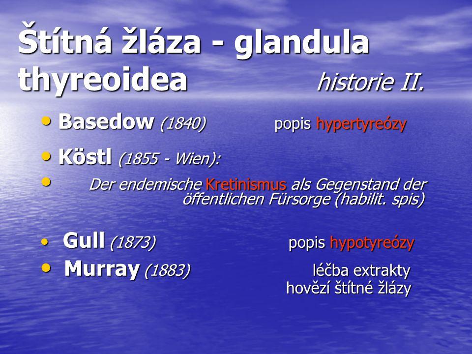 Štítná žláza - glandula thyreoidea historie II.