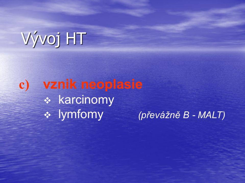 Vývoj HT c) vznik neoplasie karcinomy lymfomy (převážně B - MALT)