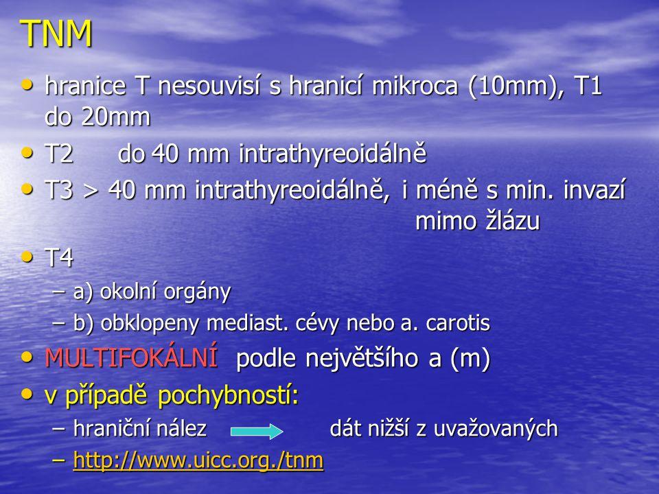TNM hranice T nesouvisí s hranicí mikroca (10mm), T1 do 20mm