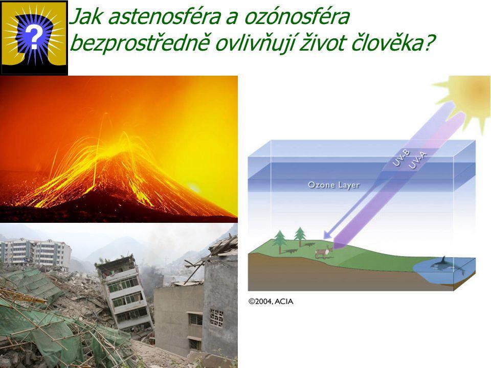 Jak astenosféra a ozónosféra bezprostředně ovlivňují život člověka