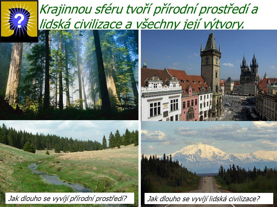 Krajinnou sféru tvoří přírodní prostředí a lidská civilizace a všechny její výtvory.