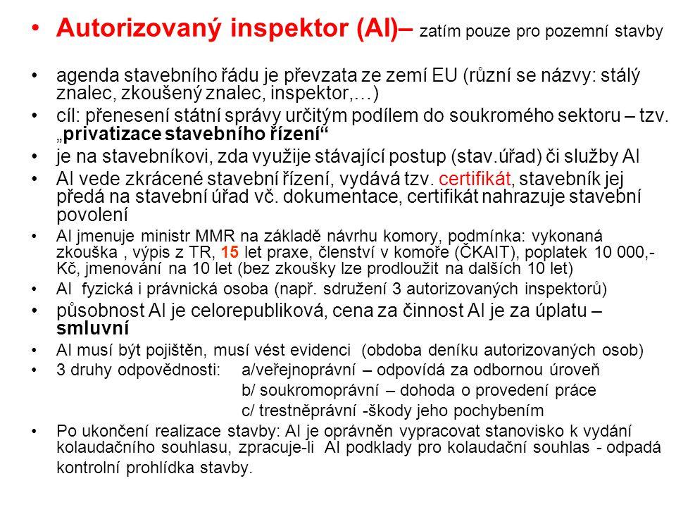 Autorizovaný inspektor (AI)– zatím pouze pro pozemní stavby