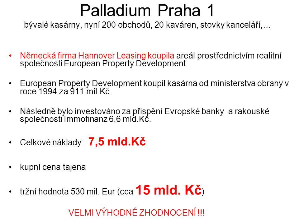 Palladium Praha 1 bývalé kasárny, nyní 200 obchodů, 20 kaváren, stovky kanceláří,…