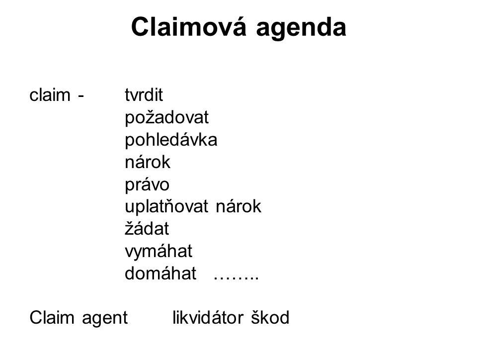 Claimová agenda claim - tvrdit požadovat pohledávka nárok právo