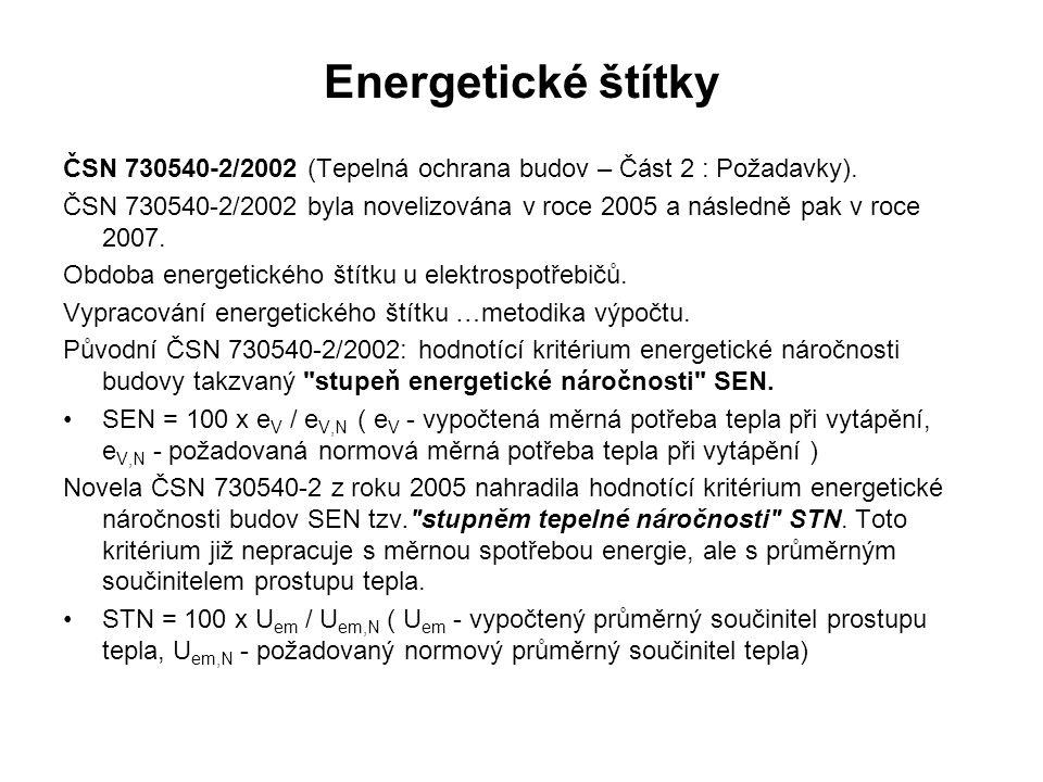 Energetické štítky ČSN 730540-2/2002 (Tepelná ochrana budov – Část 2 : Požadavky).