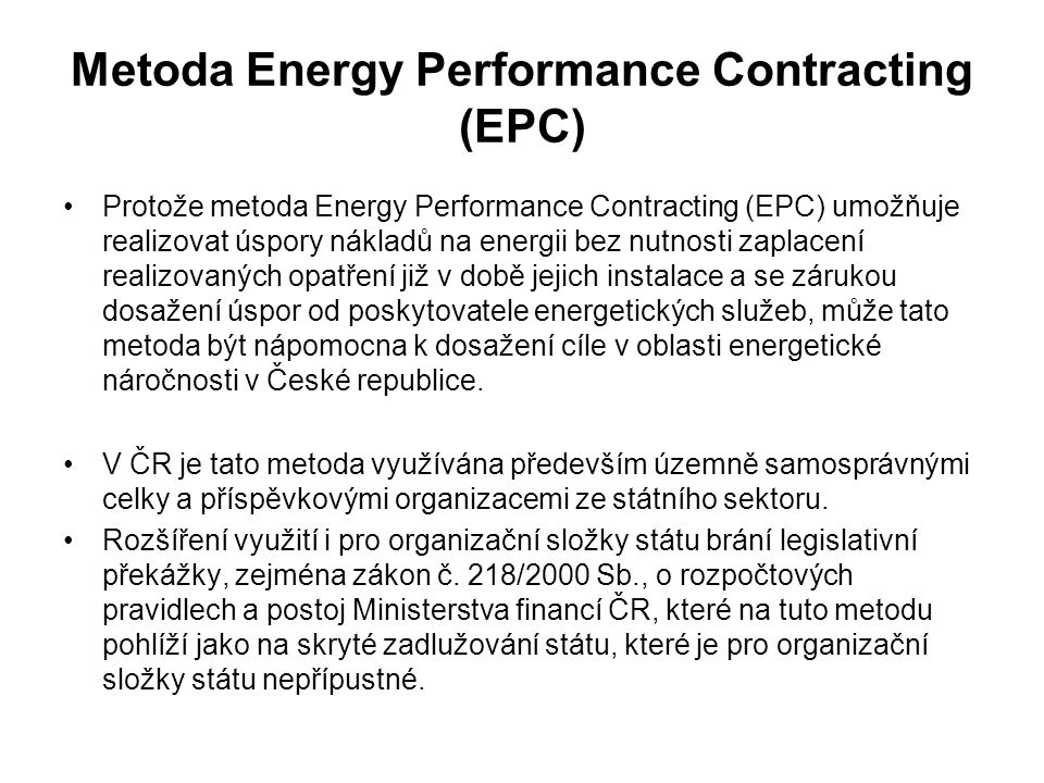 Metoda Energy Performance Contracting (EPC)