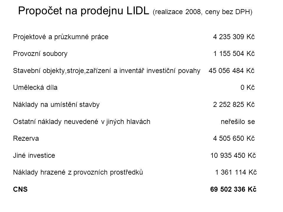 Propočet na prodejnu LIDL (realizace 2008, ceny bez DPH)
