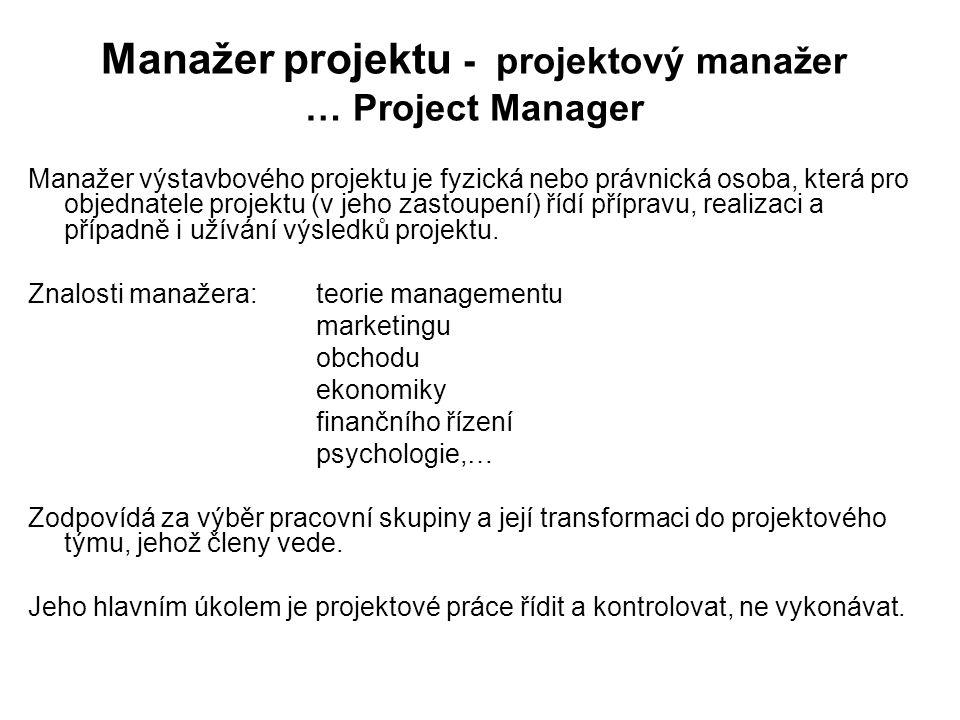 Manažer projektu - projektový manažer … Project Manager