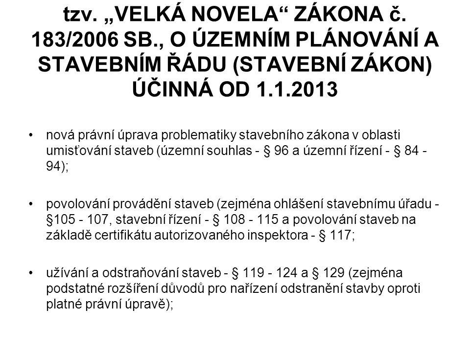 """tzv. """"VELKÁ NOVELA ZÁKONA č. 183/2006 SB"""