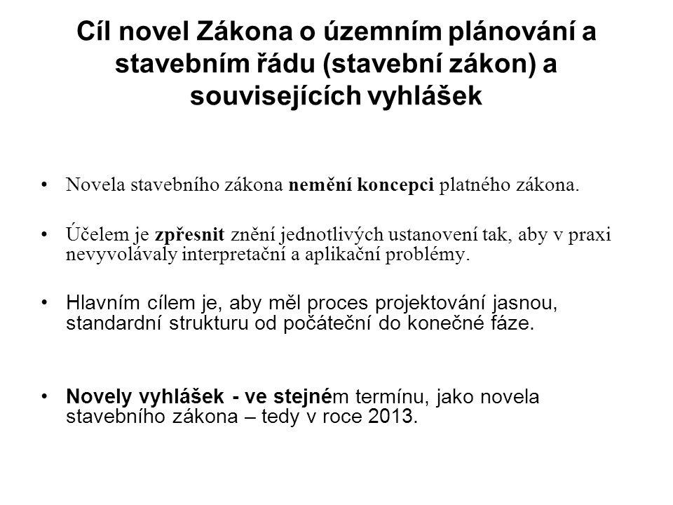 Cíl novel Zákona o územním plánování a stavebním řádu (stavební zákon) a souvisejících vyhlášek