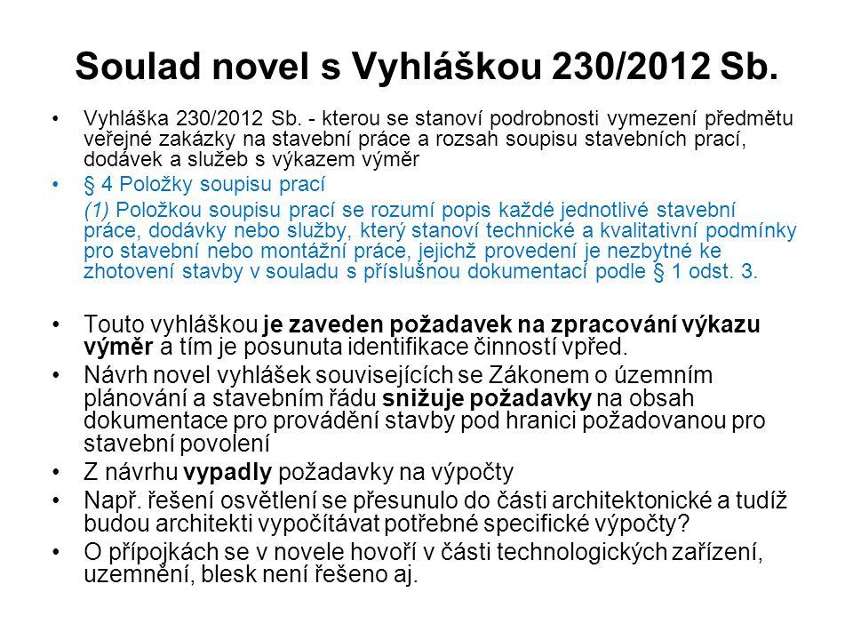 Soulad novel s Vyhláškou 230/2012 Sb.