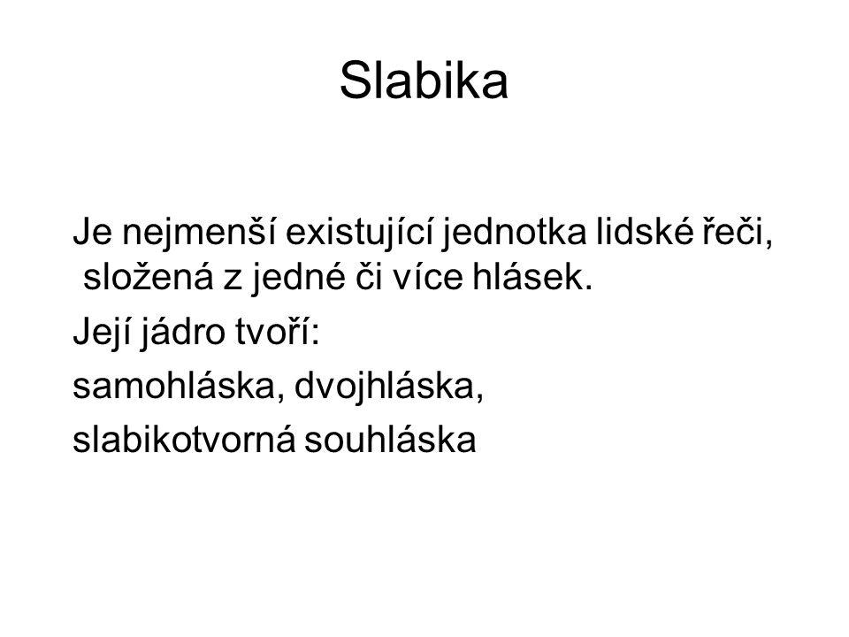 Slabika Je nejmenší existující jednotka lidské řeči, složená z jedné či více hlásek. Její jádro tvoří: