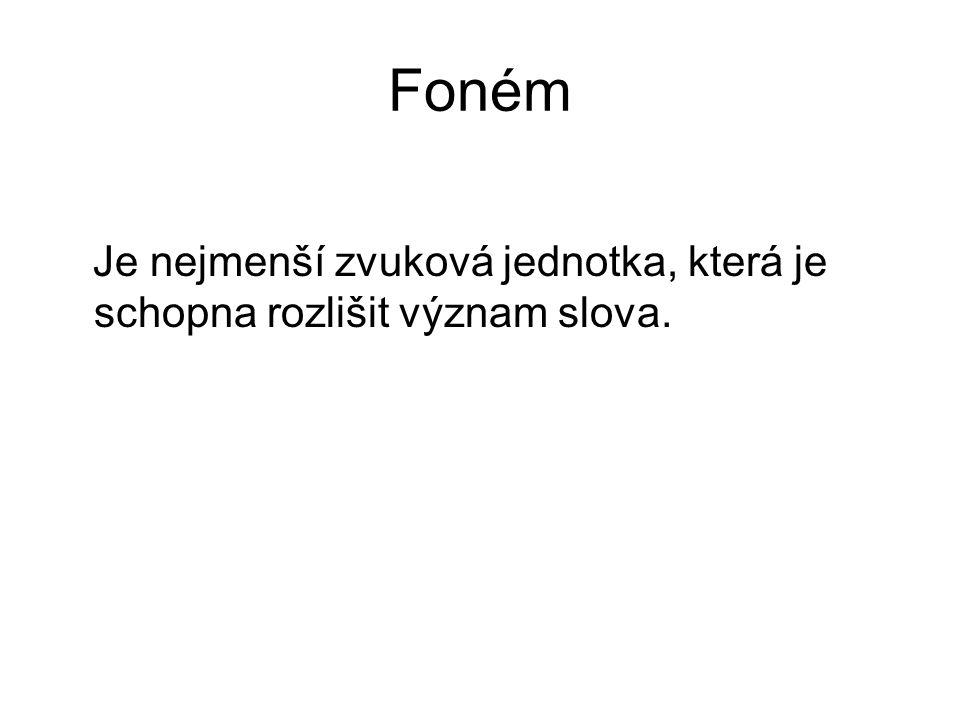 Foném Je nejmenší zvuková jednotka, která je schopna rozlišit význam slova.