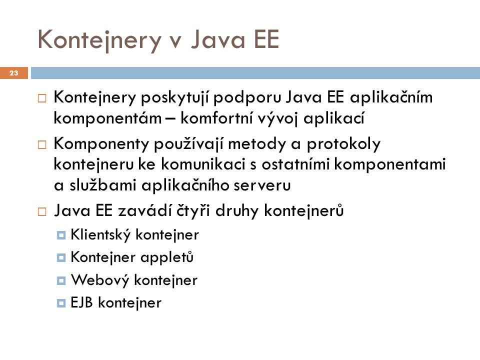 02/24/12 Kontejnery v Java EE. 23. Kontejnery poskytují podporu Java EE aplikačním komponentám – komfortní vývoj aplikací.