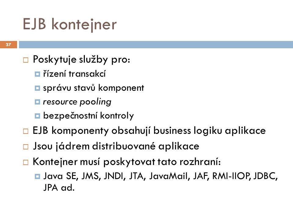 EJB kontejner Poskytuje služby pro: