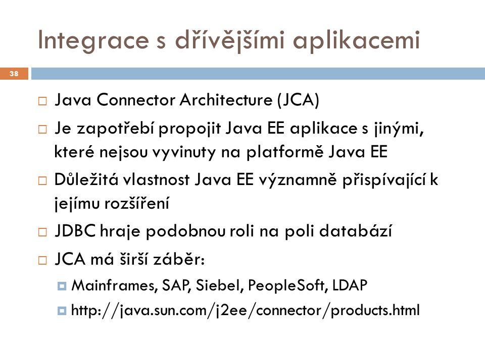 Integrace s dřívějšími aplikacemi