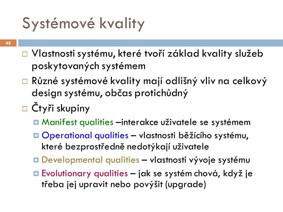 02/24/12 Systémové kvality. 48. Vlastnosti systému, které tvoří základ kvality služeb poskytovaných systémem.