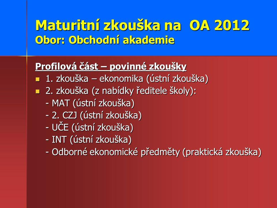 Maturitní zkouška na OA 2012 Obor: Obchodní akademie