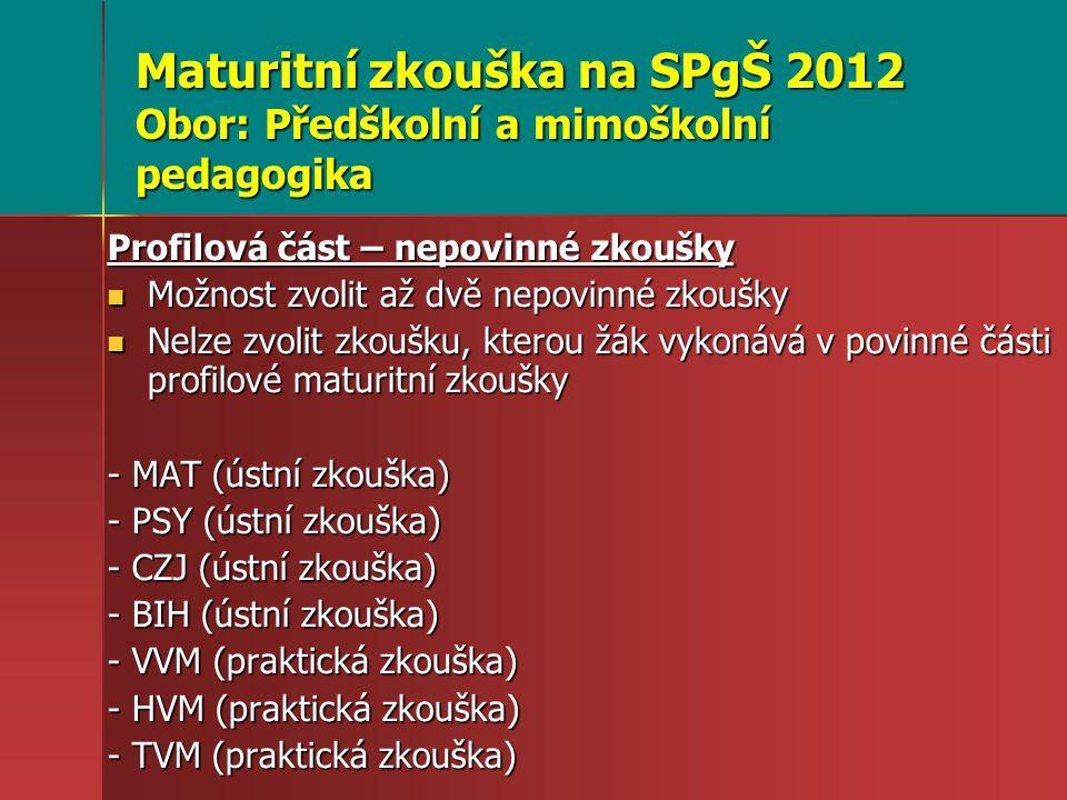 Maturitní zkouška na SPgŠ 2012 Obor: Předškolní a mimoškolní pedagogika