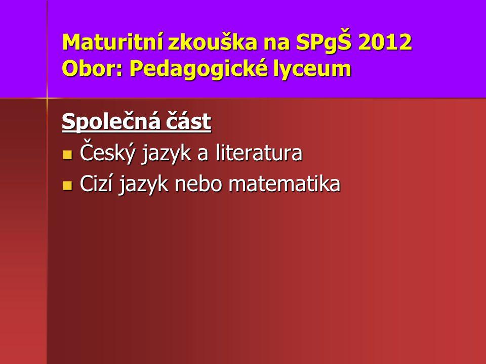 Maturitní zkouška na SPgŠ 2012 Obor: Pedagogické lyceum