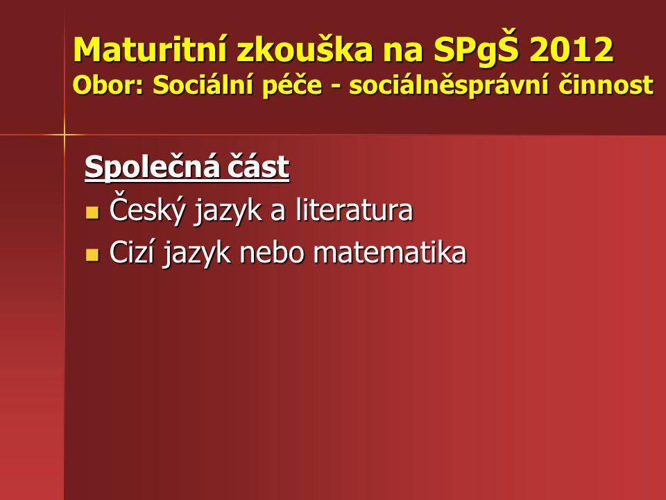 Maturitní zkouška na SPgŠ 2012 Obor: Sociální péče - sociálněsprávní činnost