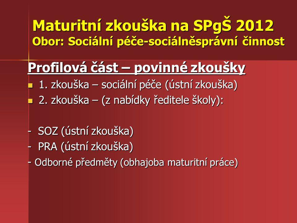 Maturitní zkouška na SPgŠ 2012 Obor: Sociální péče-sociálněsprávní činnost