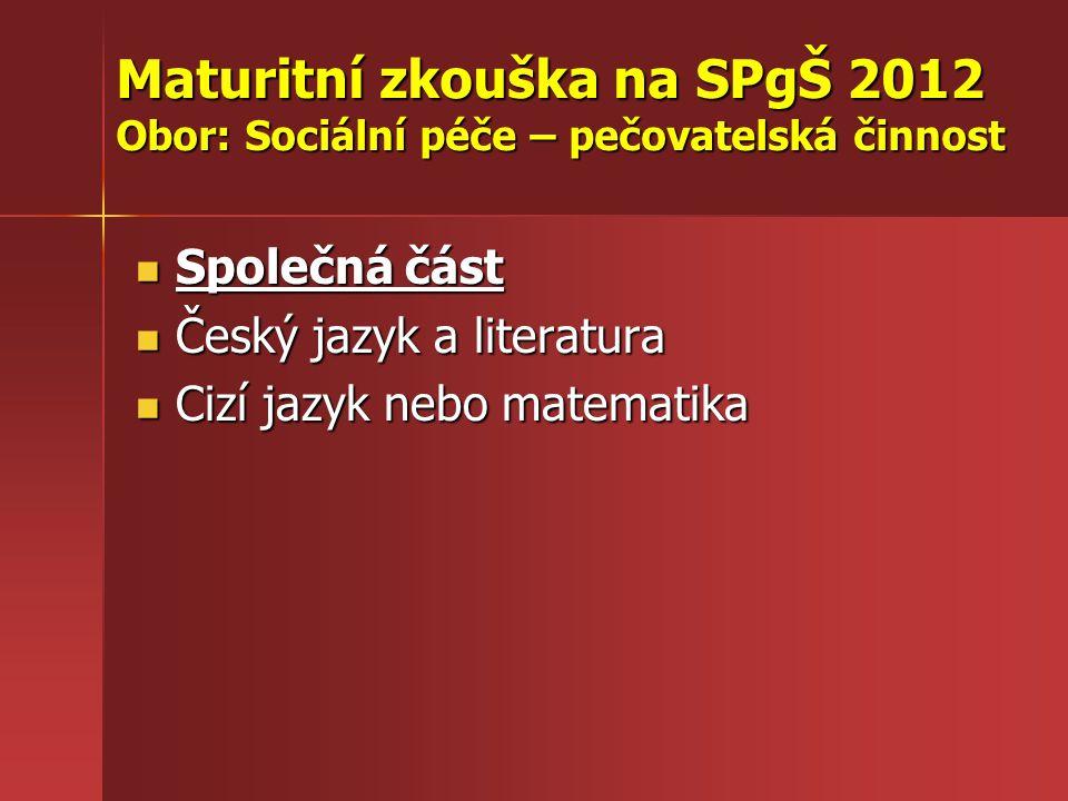 Maturitní zkouška na SPgŠ 2012 Obor: Sociální péče – pečovatelská činnost