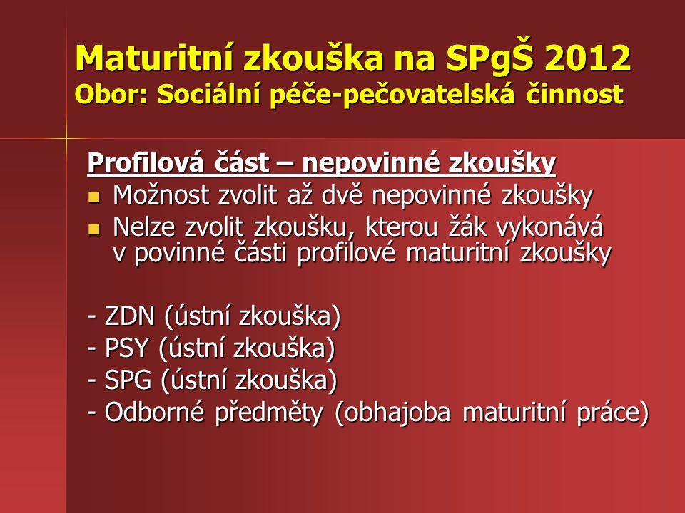 Maturitní zkouška na SPgŠ 2012 Obor: Sociální péče-pečovatelská činnost