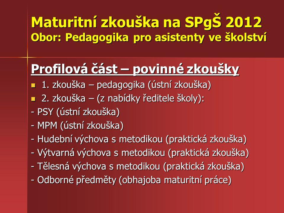 Maturitní zkouška na SPgŠ 2012 Obor: Pedagogika pro asistenty ve školství