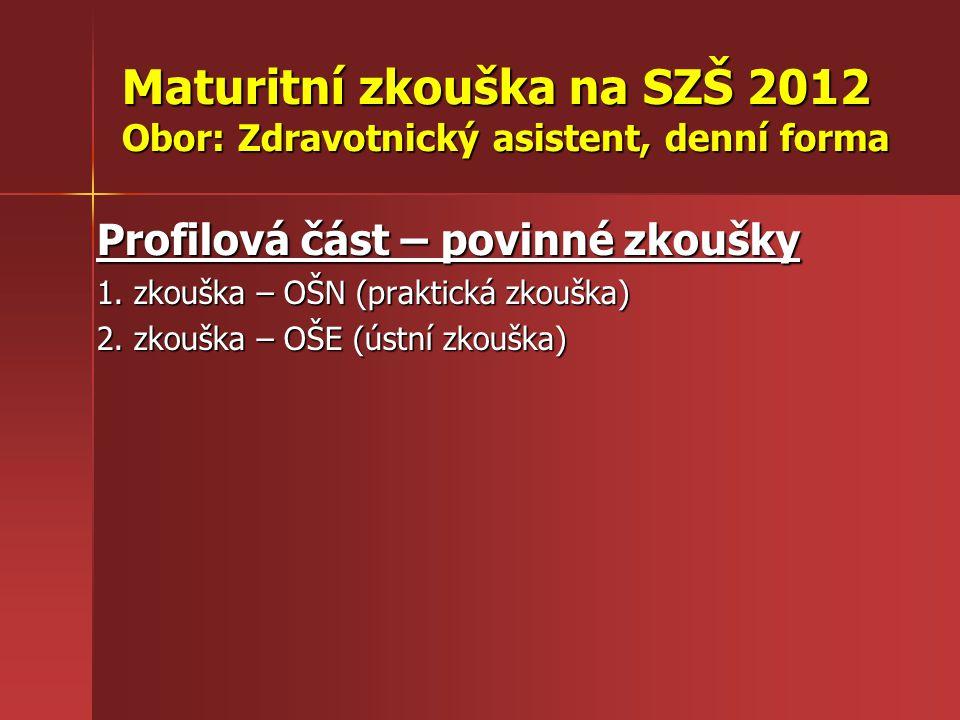 Maturitní zkouška na SZŠ 2012 Obor: Zdravotnický asistent, denní forma