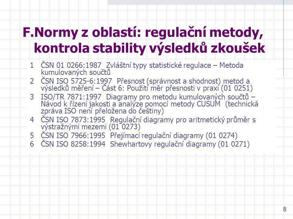 F.Normy z oblastí: regulační metody, kontrola stability výsledků zkoušek