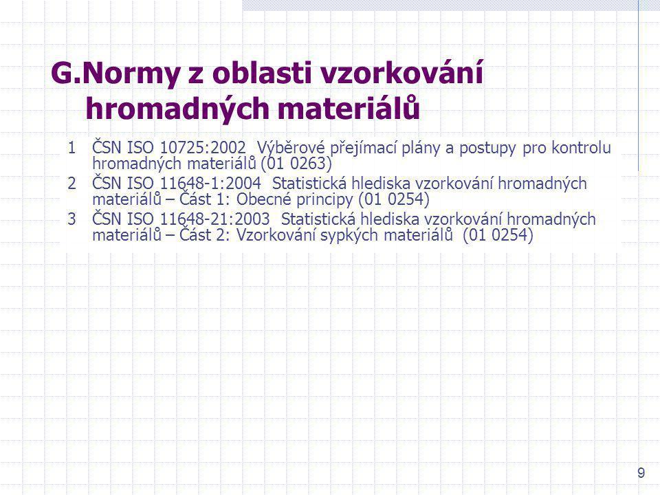 G.Normy z oblasti vzorkování hromadných materiálů