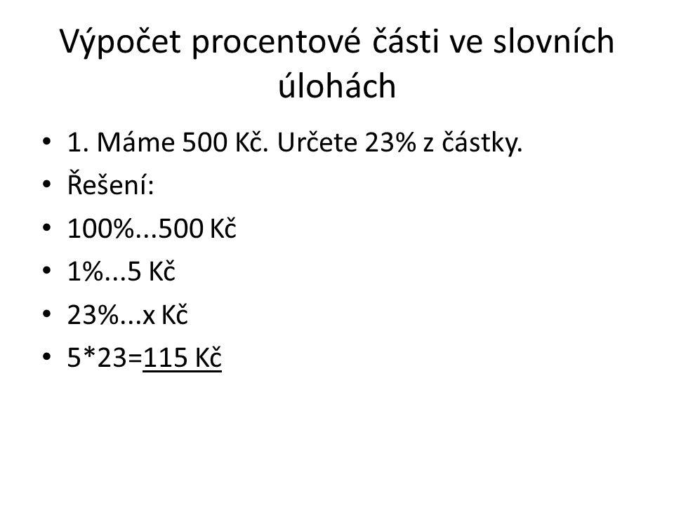 Výpočet procentové části ve slovních úlohách