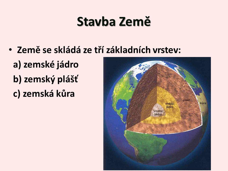 Stavba Země Země se skládá ze tří základních vrstev: a) zemské jádro